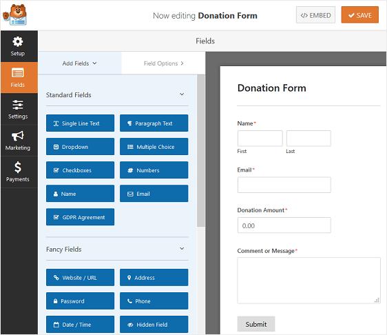 WPForms: modulo per le donazioni senza personalizzazione