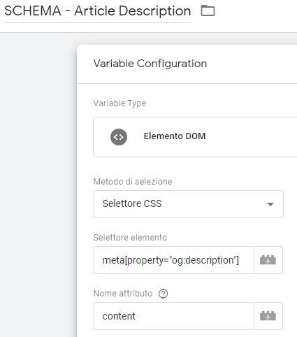 Tag Manager - variabile per lettura dal data layer