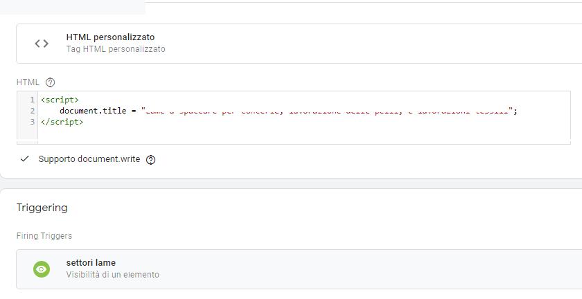 """posizionamento sito mono-pagina: sfruttare Google Tag Manager per cambiare il meta tag """"title"""""""
