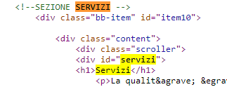 posizionamento seo sito mono-pagina: utilizzo dei div per strutturare il contenuto testuale