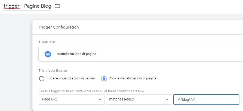 Tag Manager - Attivatore pagine blog utilizzando regex