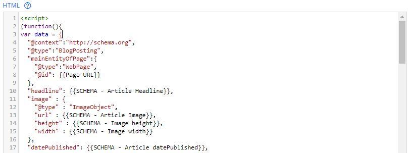 Tag Manager - Tag per snippet di dati strutturati per pagine blog - 01