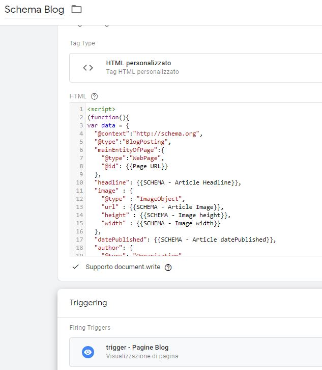 Tag Manager - Tag per snippet di dati strutturati per pagine blog