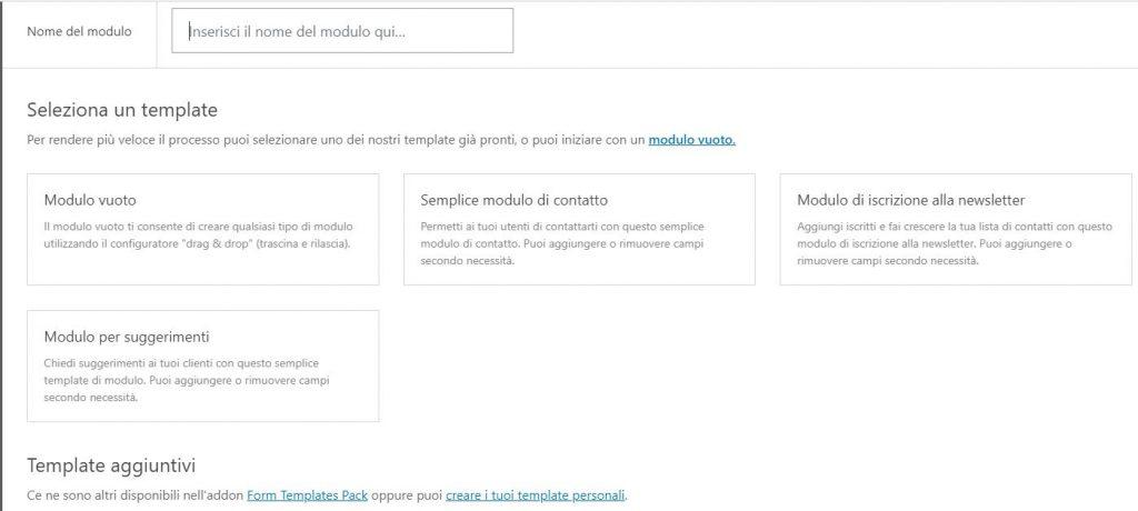 WPForms: creazione di un nuovo modulo con utilizzo di template
