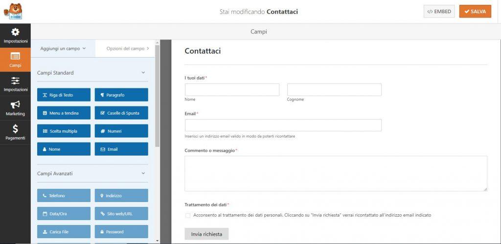 WPForms: esempio di un semplice modulo di contatto