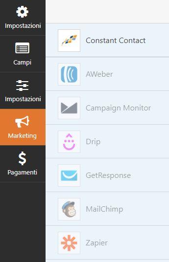 WPForms: sezione marketing